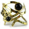 Handcrafted Dancing Onyx Brass Cuff (South Africa)