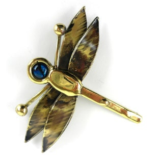 Handcrafted Dragonfly Brass Pin with Paua Shell (South Africa)