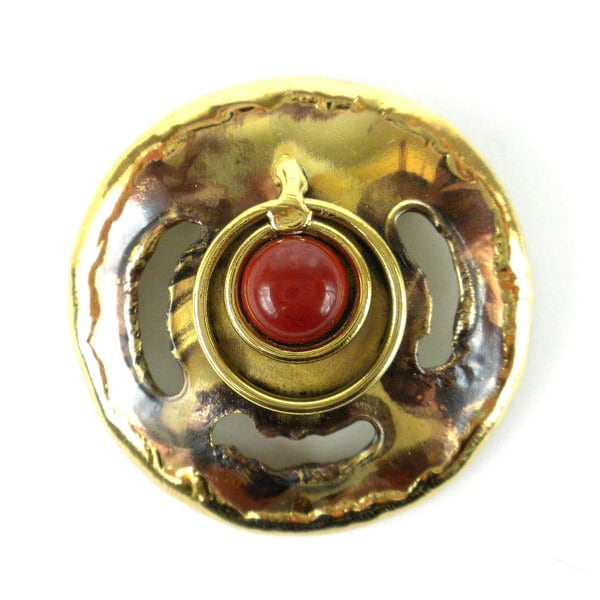 Handcrafted Brass and Red Jasper 'Earth's Core' Brooch (South Africa)