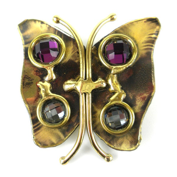 Handcrafted Brass Butterfly Brooch with Crystals (South Africa)