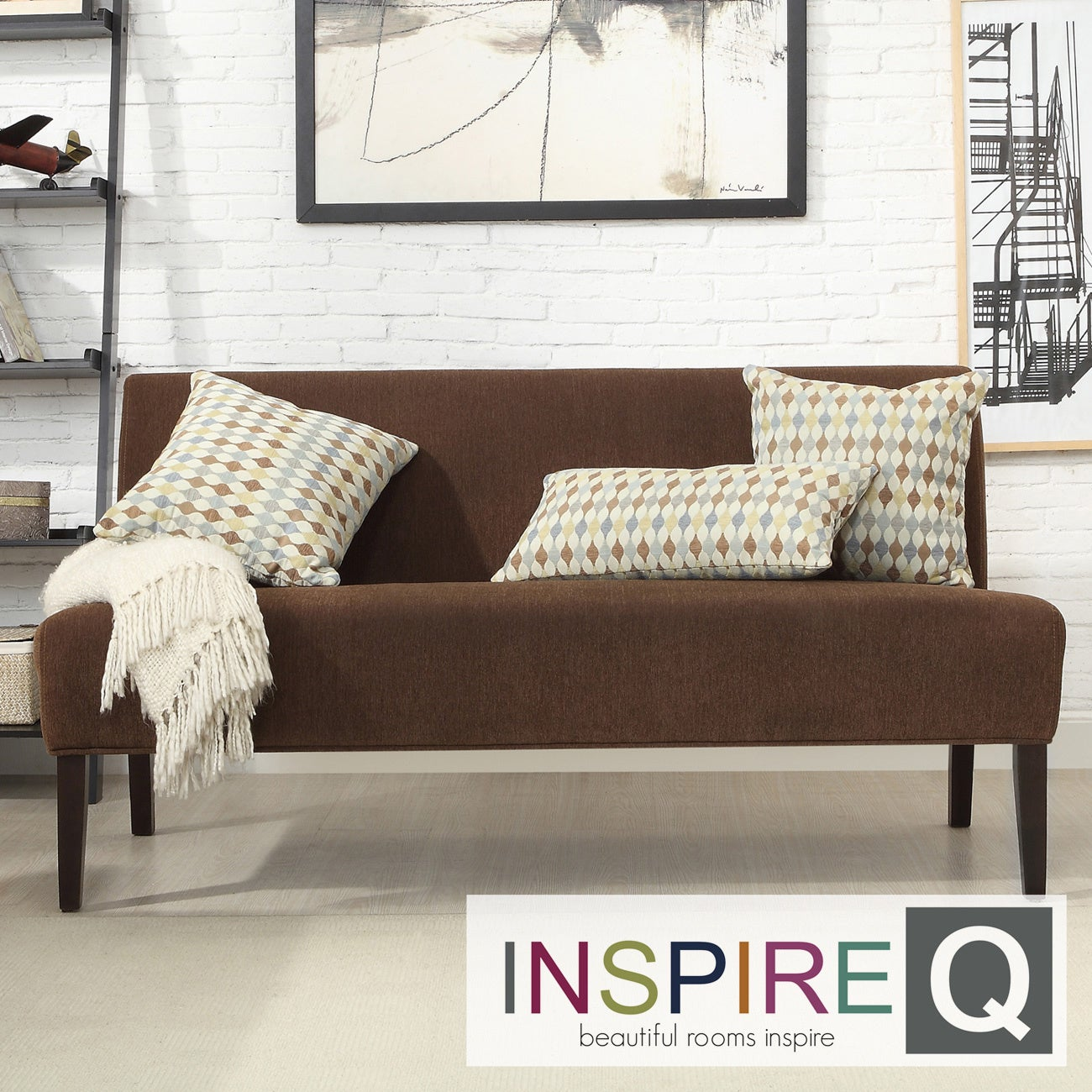INSPIRE Q Wicker Park Chocolate Chenille Armless Sofa