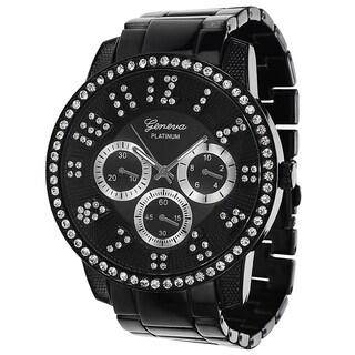 Geneva Platinum Men's Rhinestone Accent Milgrain Watch