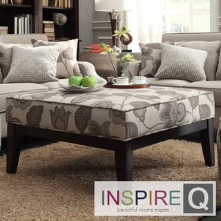INSPIRE Q Ashland 36-inch Grey Floral Upholstered Cocktail Ottoman