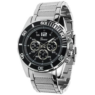 Geneva Platinum Men's Milgrain Link Watch