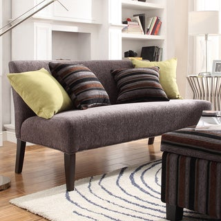 Kayla Burgundy Grey Chenille Espresso Armless Mini Sofa