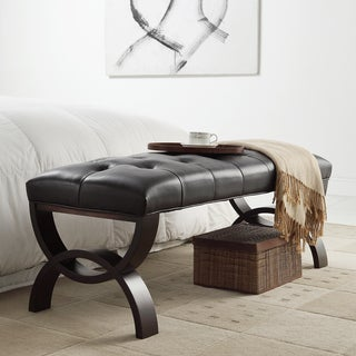 INSPIRE Q Wellington Dark Brown Faux Leather Arched Base Bench