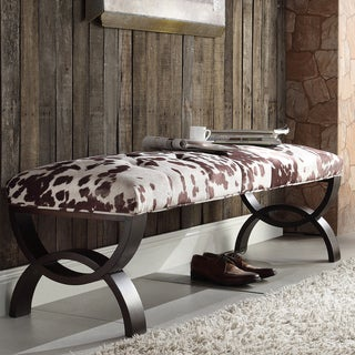 INSPIRE Q Wellington Cowhide Print Arched Base Bench