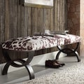 Inspire Q Yakiya Modern Swirling Scroll Espresso Chocolate Cow Hide Vanity Bench