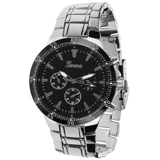 Geneva Platinum Men's Chronograph-style Polished Link Watch