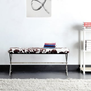 Santos Contemporary Chrome Finish Cow Hide Fabric X-base Bench