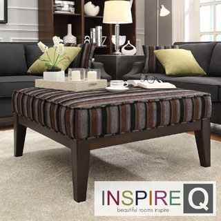 INSPIRE Q Ashland 36-inch Dark Tonal Stripe Upholstered Cocktail Ottoman