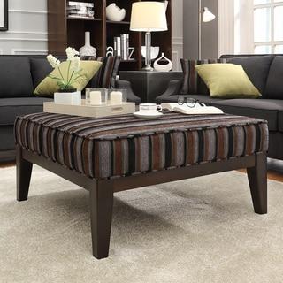 INSPIRE Q Ashland 36-inch Dark Tonal Stripe Upholstered Cocktail Ottoman