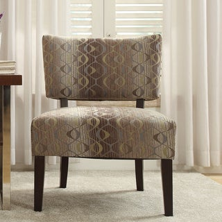 Inspire Q Kayla Fun Oval Fabric Espresso Finish Accent Chair