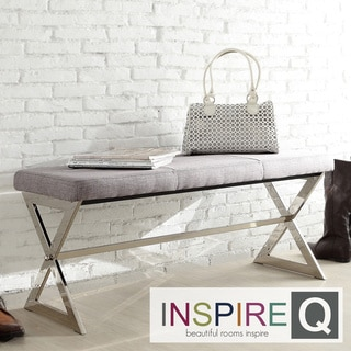 INSPIRE Q Southport Grey Linen 40-inch Metal Bench