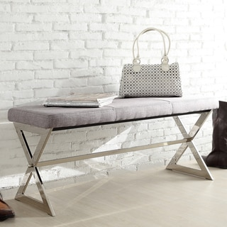 Inspire Q Santos Contemporary Chrome Finish Grey Linen X-base Bench