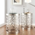Mundo Contemporary Cylindrical Webbed Sidewall Glass Top Side Table