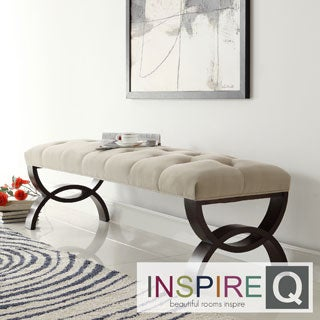 INSPIRE Q Wellington Velvet Beige Arched Base Bench