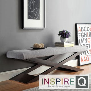 INSPIRE Q Bosworth Grey Linen Wood X Base Bench