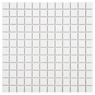 SomerTile 11.75x11.75-in Polar Square 1-in White Porcelain Mosaic Tile (Pack of 10)