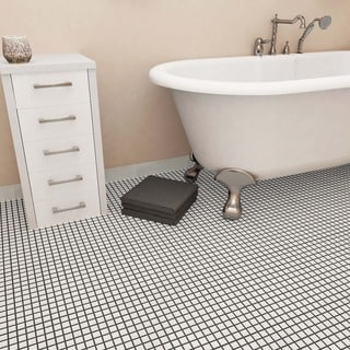 SomerTile 11.75x11.75-inch Polar Square White Porcelain Mosaic Floor and Wall Tile (Case of 10)