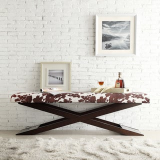 INSPIRE Q Bosworth Cowhide Print Wood X Base Bench