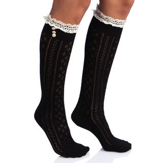 Women's 3-button Lace Calf-high Socks (One Size)