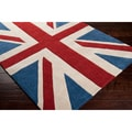 Hand-tufted Union Jack Blue Area Rug (9'9 x 13'9)
