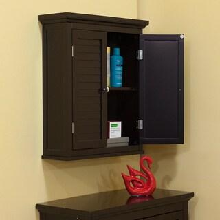 Bayfield dark espresso double shutter door wall cabinet overstock shopping great deals on - Dark espresso bathroom wall cabinet ...
