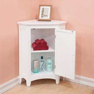 Bayfield White Shutter Door Corner Floor Cabinet