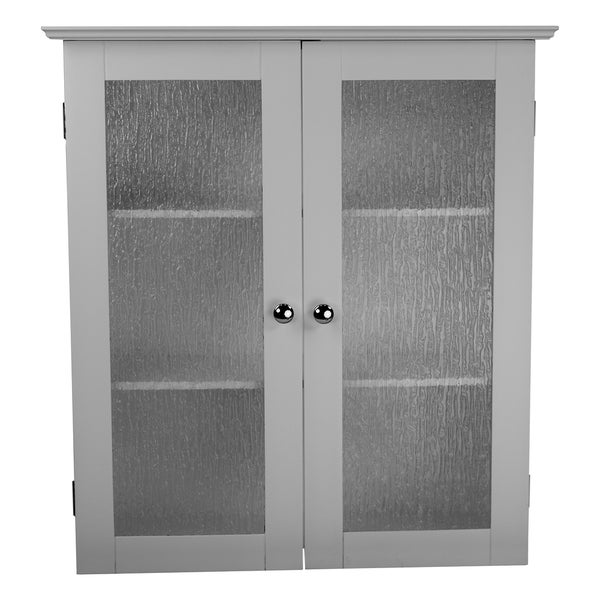 highland white double glass door wall cabinet by elegant