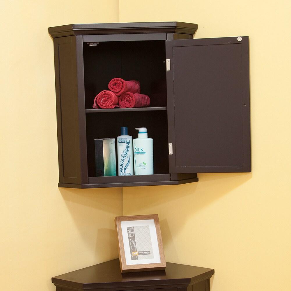 Overstock.com Bayfield Espresso Shutter Door Corner Wall  Cabinet at Sears.com