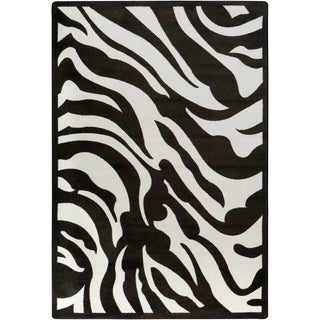 Woven Jewel Zebra Stripe Black Area Rug (5'4 x 7'8)