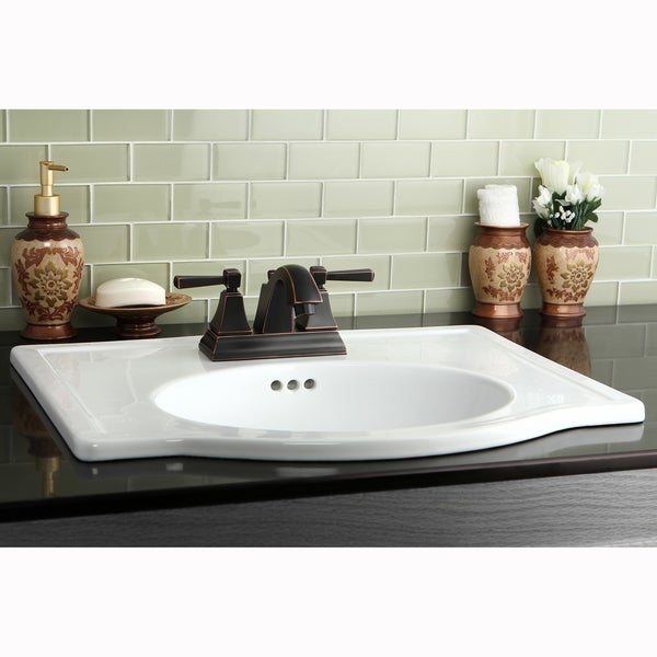 ... Collection White Oval Porcelain Vitreous China Drop-in Vanity Sink