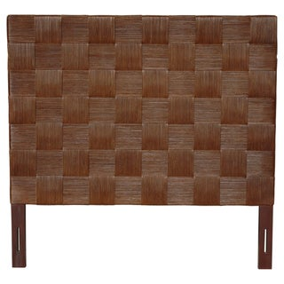 Square Dark Brown Rattan Queen Headboard