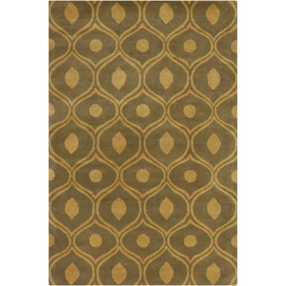 Hand-tufted Allie Olive/ Gold Abstract Wool Rug (5' x 7'6)