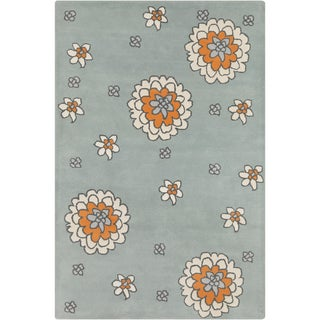Allie Hand-tufted Floral Grey Wool Rug (5' x 7'6)