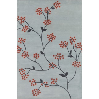 Allie Hand-tufted Floral Blue/ Grey Wool Rug (5' x 7'6)