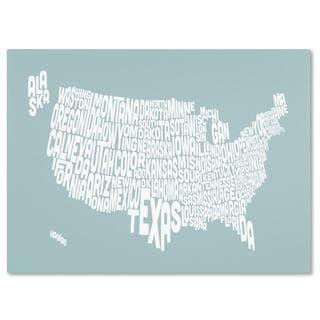Michael Tompsett 'USA States Text Map in Duck Egg' Canvas Art
