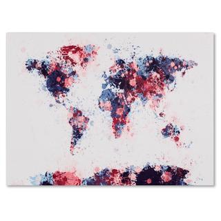 Michael Tompsett 'Paint Splashes World Map 3' Canvas Art