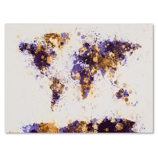 Michael Tompsett 'Paint Splashes World Map 4' Canvas Art
