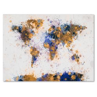 Michael Tompsett 'Paint Splashes World Map 2' Canvas Art