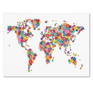 Michael Tompsett 'Flowers World Map 2' Canvas Art