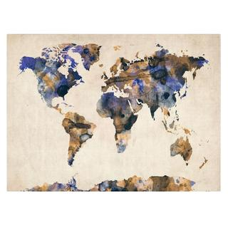 Michael Tompsett 'Watercolor Map 3' Canvas Art