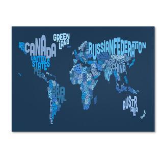 Michael Tompsett 'World Text Map 2' Canvas Art