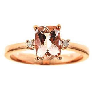 D'Yach 10k Rose Gold Morganite/ Diamond Ring