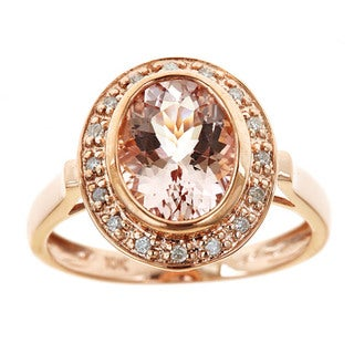 D'Yach 10k Rose Gold Morganite/ 1/10ct TDW Diamond Ring (G-H, I1-I2)