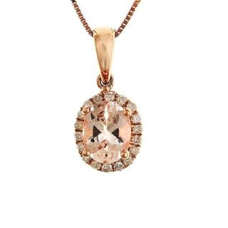 D'Yach 10k Rose Gold Morganite/ 1/10ct TDW Diamond Necklace (G-H, I1-I2)