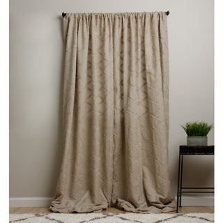 Lattice Cotton/ Linen Khaki 96-inch Curtain Panel