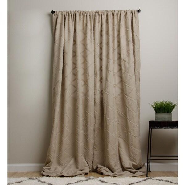 Lattice Cotton/ Linen Khaki 96-inch Curtain Panel