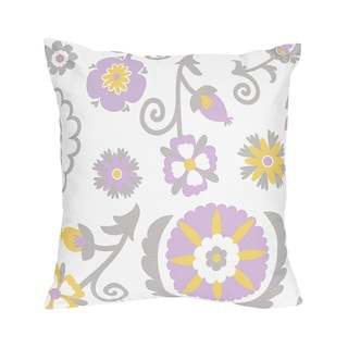 Sweet Jojo Designs Lavender and White Suzanna Decorative Accent Throw Pillow